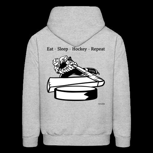 Men's Eat Sleep Hockey Repeat Hoodie - bw -  Back Print - Men's Hoodie