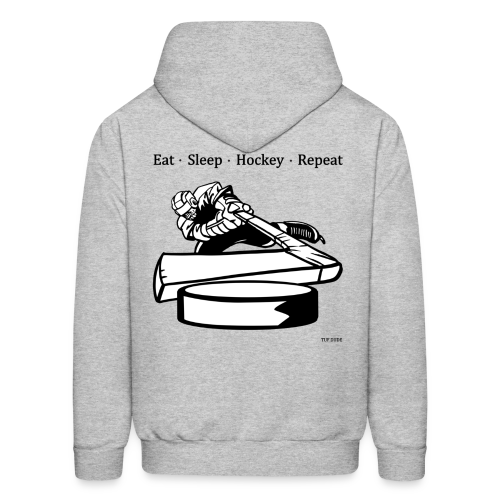 Men's Eat Sleep Hockey Repeat Hoodie - bw -  Back Print - Men's Hoodie
