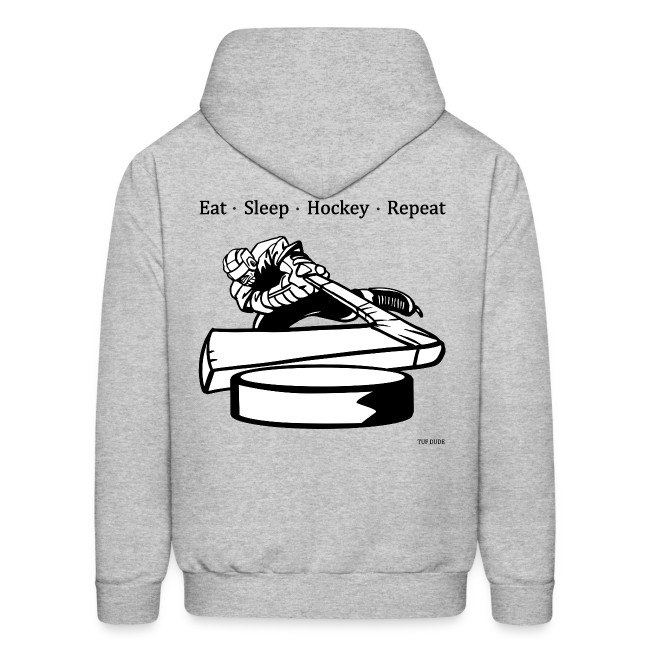 Men's Eat Sleep Hockey Repeat Hoodie - bw -  Back Print