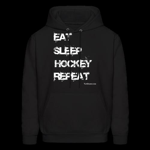 Men's Eat Sleep Hockey Repeat Hoodie - wb -  Front Print - Men's Hoodie
