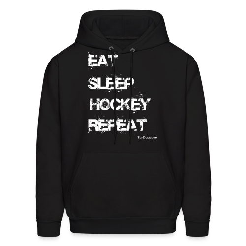 Men's Eat Sleep Hockey Repeat Hoodie - wb -  Front Print - Men's Hoodie