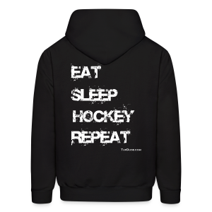 Men's Eat Sleep Hockey Repeat Hoodie - wb -  Back Print - Men's Hoodie