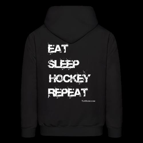 Men's Eat Sleep Hockey Repeat Hoodie - wb -  Back Print - Men's Hoodie