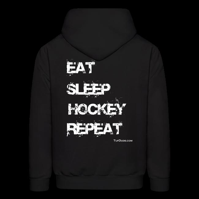 Men's Eat Sleep Hockey Repeat Hoodie - wb -  Back Print