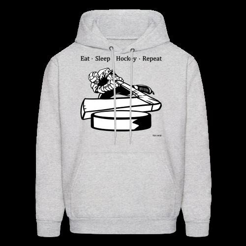 Eat Sleep Hockey Repeat Hoodie - bw - Front Print - Men's Hoodie