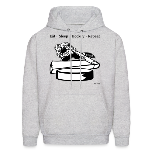 Eat Sleep Hockey Repeat Hoodie - bw - Front Print - Men's Hoodie