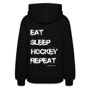 Eat Sleep Hockey Repeat Hoodie - Women's - wb - Back Print - Women's Hoodie