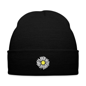Daisy Knit Cap - Knit Cap with Cuff Print