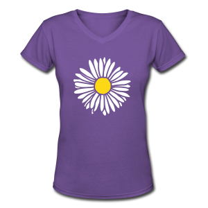 Daisy (bicolor) V-Neck - Women's V-Neck T-Shirt