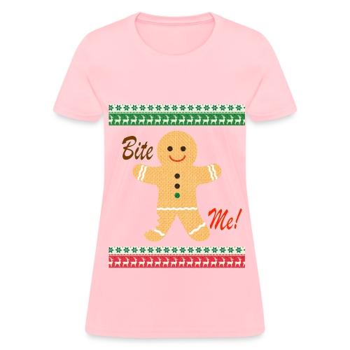 Ugly Christmas Sweater Funny T shirt - Bite Me Shirt -Womens - Pink - Women's T-Shirt