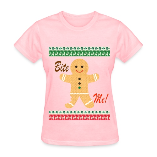 Ugly Christmas Sweater Funny T shirt - Bite Me Shirt -Womens - Pink - Women's T-Shirt