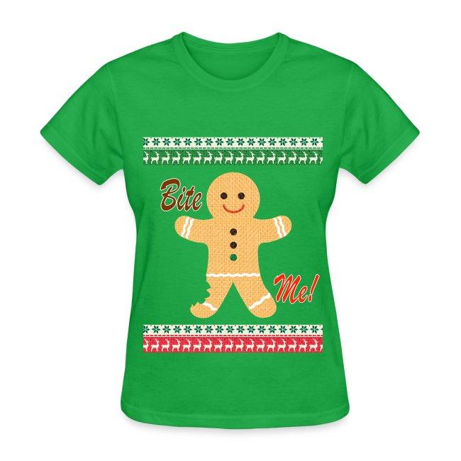ugly christmas sweater funny t shirt bite me shirt womens green