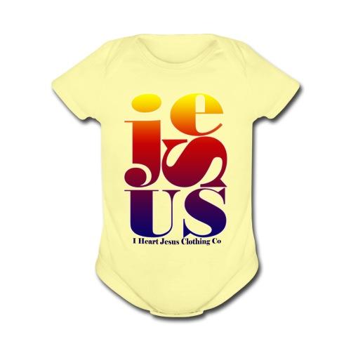 Jesus Printed   - Organic Short Sleeve Baby Bodysuit