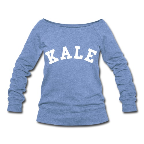KALE SLOUCHY SWEATSHIRT GRAY/WHITE - Women's Wideneck Sweatshirt
