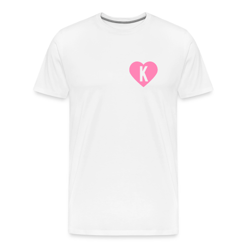 K Heart/LegitKawaii - Men's Tshirt (Pink & White) - Men's Premium T-Shirt