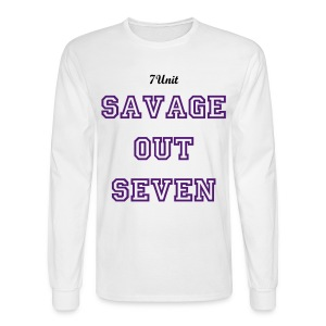 7Unit Savage out Seven Long Sleeve - White - Men's Long Sleeve T-Shirt
