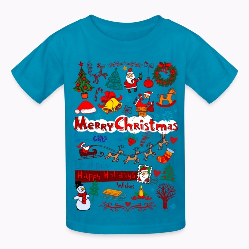 Kids' T-Shirt - vacation,tough-wearing,t-shirt,special,season,preshrunk,offer,kid,imported,holiday,greetings,gift,fashion,double-stitched,cotton,celebration,Santa,Gildan,December,Christmas