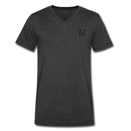 V-neck Barbell & Crossbones - Men's V-Neck T-Shirt by Canvas