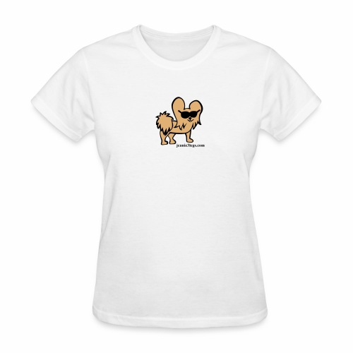 Women's Jeanie the 3-Legged Dog (brown graphic) - Women's T-Shirt