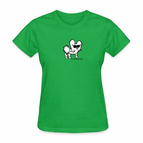 Women's Jeanie the 3-Legged Dog (white graphic) - Women's T-Shirt