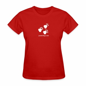 Women's Jeanie Paw Prints (white graphic) - Women's T-Shirt