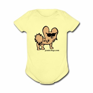 Baby Jeanie the 3-Legged Dog BROWN - Short Sleeve Baby Bodysuit