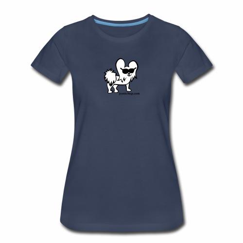 Women's Premium Jeanie the Three-Legged Dog (white graphic) - Women's Premium T-Shirt