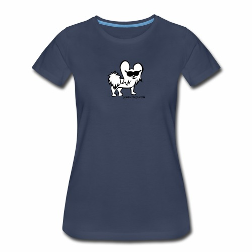 Women's Premium Jeanie the Three-Legged Dog (white graphic) - Women's Premium T-Shirt