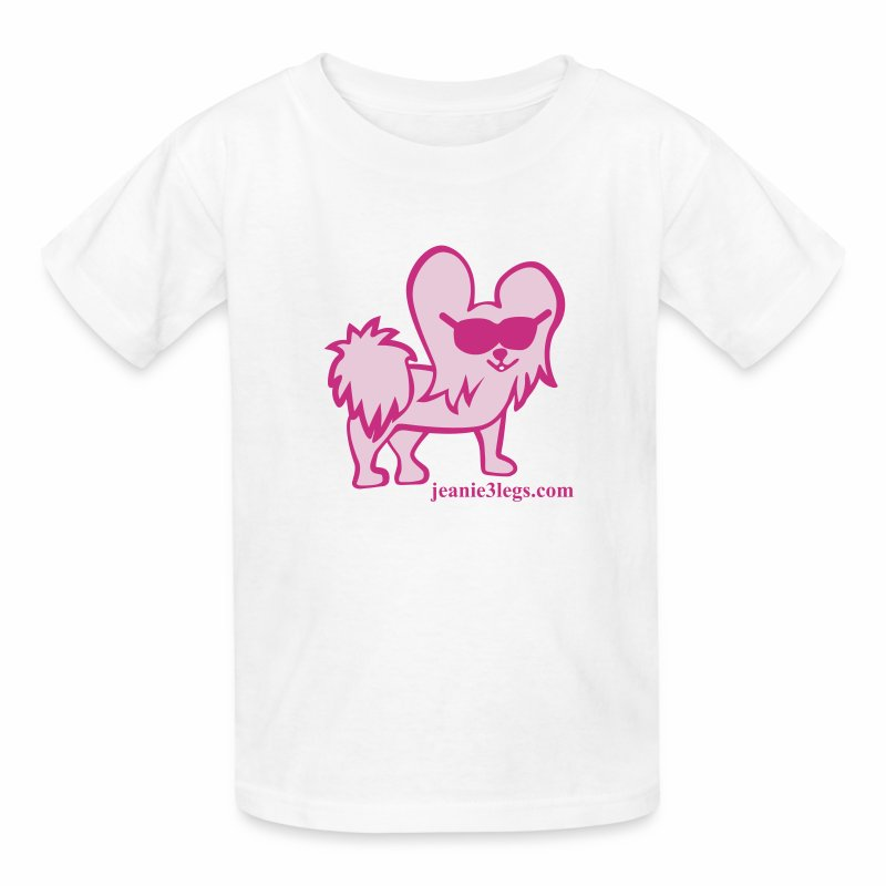 Kids Jeanie the 3-Legged Dog (pink graphic) - Kids' T-Shirt