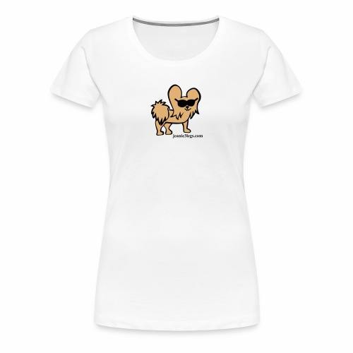 Women's Premium Jeanie the Three-Legged Dog (brown graphic) - Women's Premium T-Shirt