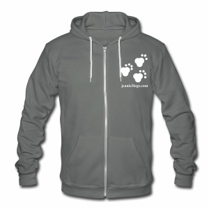 Unisex Hooded Sweatshirt (w/ fleece lining) Jeanie3legs Paw Prints (white graphic) - Unisex Fleece Zip Hoodie by American Apparel
