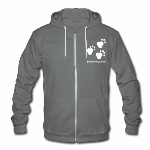 Unisex Hooded Sweatshirt (w/ fleece lining) Jeanie3legs Paw Prints (white graphic) - Unisex Fleece Zip Hoodie