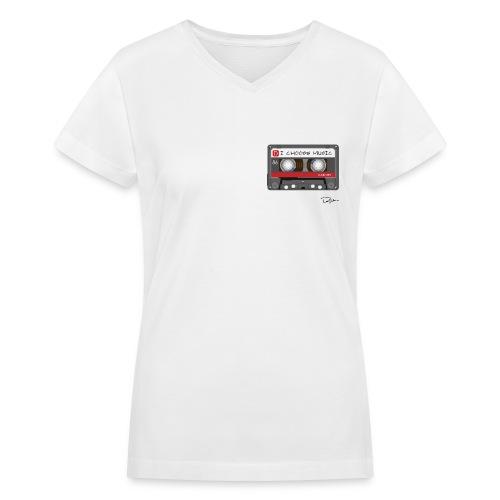 Womens I Choose Music Tee  - Women's V-Neck T-Shirt