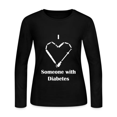 I Love Someone With Diabetes - Needle Design - White - Women's Long Sleeve Jersey T-Shirt