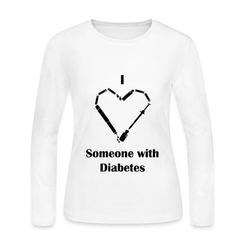 I Love Someone With Diabetes - Needle Design - Black - Women's Long Sleeve Jersey T-Shirt