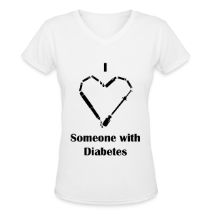 I Love Someone With Diabetes - Needle Design - Black - Women's V-Neck T-Shirt