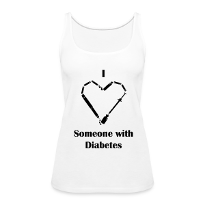 I heart Someone With Diabetes - Needle Design - Black - Women's Premium Tank Top