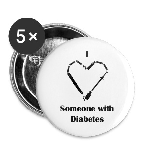 I Love Someone With Diabetes - Needle Design - Black - Large Buttons