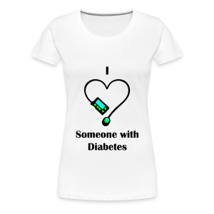 I Love Someone With Diabetes - Pump Design 1 - Blue/Green - Women's Premium T-Shirt