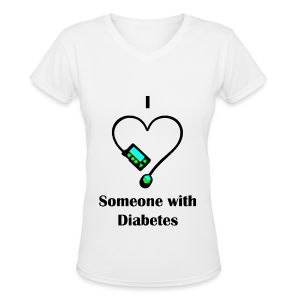 I Love Someone With Diabetes - Pump Design 1 - Green/Blue - Women's V-Neck T-Shirt