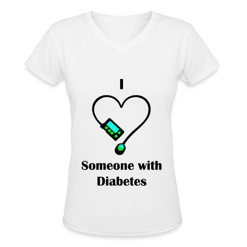 I Love Someone With Diabetes - Pump Design 1 - Green/Blue - Women's V-Neck T-Shirt