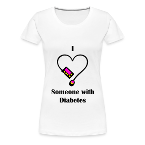 I Love Someone With Diabetes - Pump Design 1 - Pink/Orange - Women's Premium T-Shirt