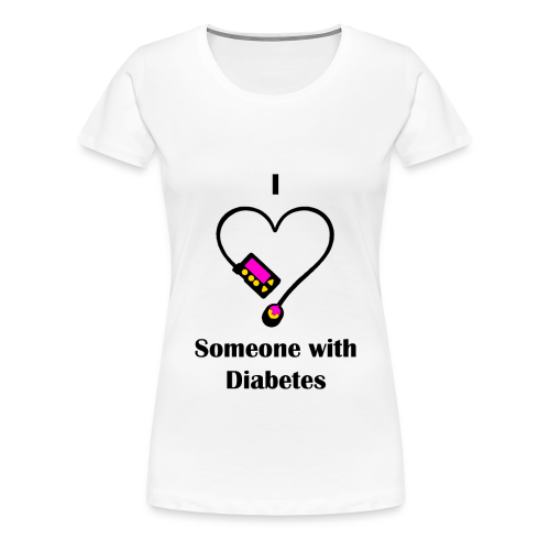I Love Someone With Diabetes - Pump Design 1 - Pink/Orange - Women's Premium T-Shirt