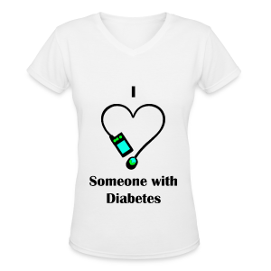 I Love Someone With Diabetes - Pump Design 2 - Blue/Green - Women's V-Neck T-Shirt