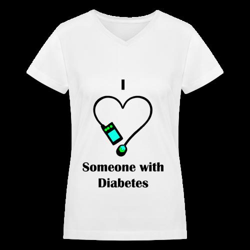 I Love Someone With Diabetes - Pump Design 2 - Blue/Green - Women's V-Neck T-Shirt