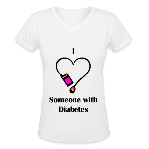 I Love Someone With Diabetes - Pump Design 2 - Pink/Orange - Women's V-Neck T-Shirt