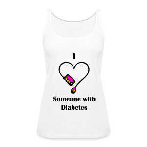 I Love Someone With Diabetes - Pump Design 1 - Pink/Orange - Women's Premium Tank Top