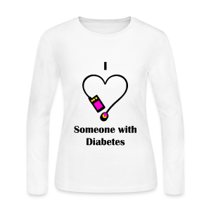I Love Someone With Diabetes - Pump Design 2 - Pink/Orange - Women's Long Sleeve Jersey T-Shirt