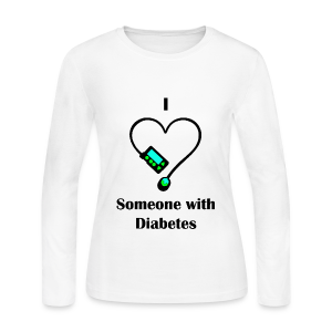 I Love Someone With Diabetes - Pump Design 1 - Blue/Green - Women's Long Sleeve Jersey T-Shirt