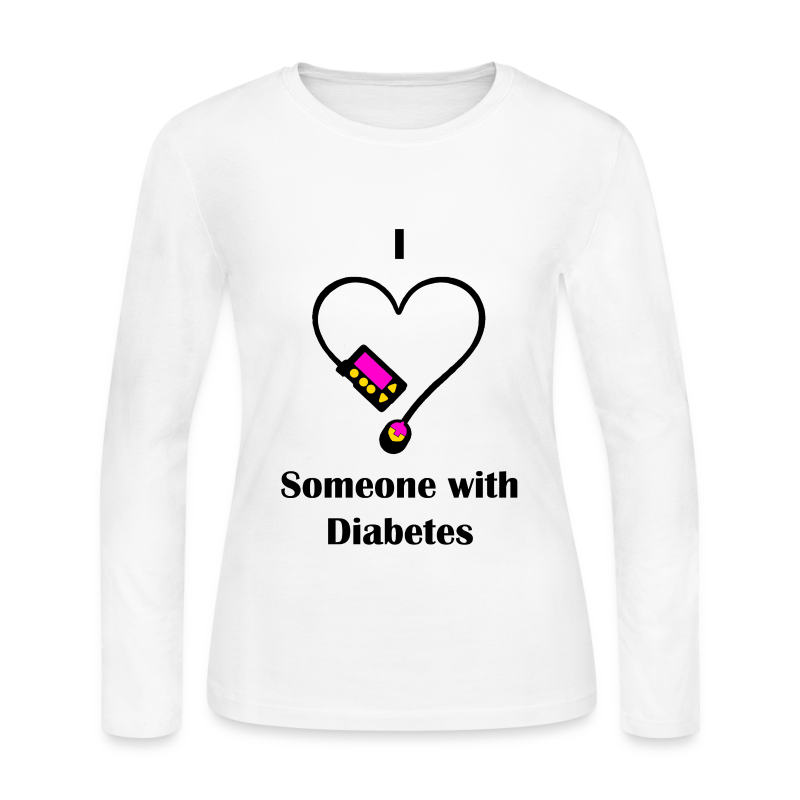 I Love Someone With Diabetes - Pump Design 1 - Pink/Orange - Women's Long Sleeve Jersey T-Shirt